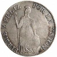 reverse of 4 Reales (1835 - 1836) coin with KM# 151.1 from Peru. Inscription: FIRME Y FELIZ POR LA UNION .