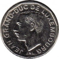 obverse of 50 Francs - Jean (1989 - 1995) coin with KM# 66 from Luxembourg. Inscription: JEAN GRAND-DUC DE LUXEMBOURG J.N.L.