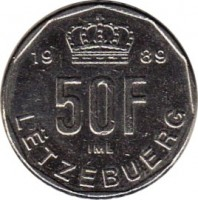 reverse of 50 Francs - Jean (1989 - 1995) coin with KM# 66 from Luxembourg. Inscription: 19 89 50F IML LËTZEBUERG