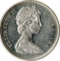 obverse of 50 Cents - Elizabeth II - 2'nd Portrait (1965 - 1966) coin with KM# 63 from Canada. Inscription: ELIZABETH II D · G · REGINA