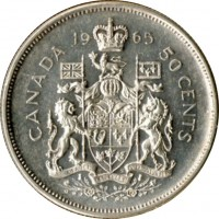 reverse of 50 Cents - Elizabeth II - 2'nd Portrait (1965 - 1966) coin with KM# 63 from Canada. Inscription: 19 65 CANADA 50 CENTS