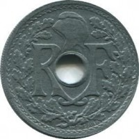 obverse of 20 Centimes (1945 - 1946) coin with KM# 907 from France. Inscription: R F EM LINDAUER