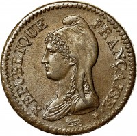 obverse of 1 Décime (1796 - 1800) coin with KM# 644 from France. Inscription: REPUBLIQUE FRANÇAISE