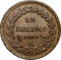 reverse of 1 Décime (1796 - 1800) coin with KM# 644 from France. Inscription: UN DÉCIME L'AN 8 K