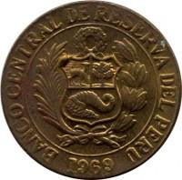 obverse of 25 Centavos (1966 - 1973) coin with KM# 246 from Peru. Inscription: BANCO CENTRAL DE RESERVA DEL PERU 1969