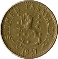obverse of 20 Markkaa (1952 - 1962) coin with KM# 39 from Finland. Inscription: SUOMEN TASAVALTA H 1957