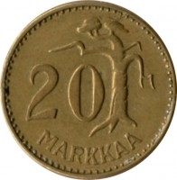 reverse of 20 Markkaa (1952 - 1962) coin with KM# 39 from Finland. Inscription: 20 MARKKAA