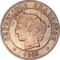 obverse of 1 Centime (1872 - 1897) coin with KM# 826 from France. Inscription: RÉPUBLIQUE FRANÇAISE * 1886 *