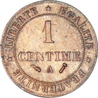 reverse of 1 Centime (1872 - 1897) coin with KM# 826 from France. Inscription: LIBERTÉ * ÉGALITÉ * FRATERNITÉ * 1 CENTIME A