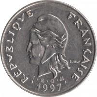 obverse of 50 Francs (1972 - 2005) coin with KM# 13 from New Caledonia. Inscription: REPUBLIQUE FRANÇAISE R. JOLY I · E · O · M 1997