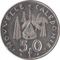 reverse of 50 Francs (1972 - 2005) coin with KM# 13 from New Caledonia. Inscription: NOUVELLE CALEDONIE 50 f