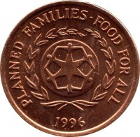 obverse of 2 Seniti - Taufa'ahau Tupou IV - FAO: Family Planning (1981 - 1996) coin with KM# 67 from Tonga. Inscription: PLANNED FAMILIES · FOOD FOR ALL 1996