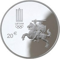 obverse of 20 Euro - XXXI Olympic Games in Rio de Janeiro (2016) coin with KM# 224 from Lithuania. Inscription: 20 €