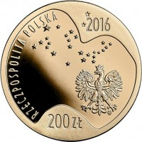 obverse of 200 Złotych - Polish Olympic Team in Rio de Janeiro 2016 (2016) coin with Y# 968 from Poland. Inscription: RZECZPOSPOLITA POLSKA 2016 200ZŁ