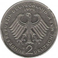 obverse of 2 Mark - 45th Anniversary to Federal Republic: Willy Brandt (1994 - 2001) coin with KM# 183 from Germany. Inscription: BUNDESREPUBLIK DEUTSCHLAND 1994 G 2 DEUTSCHE MARK