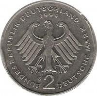 obverse of 2 Mark - 45th Anniversary to Federal Republic: Willy Brandt (1994 - 2001) coin with KM# 183 from Germany. Inscription: BUNDESREPUBLIK DEUTSCHLAND 1994 G 2 DEUTSCHE MARK