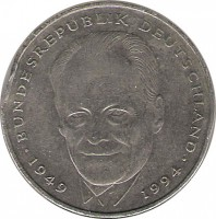 reverse of 2 Mark - 45th Anniversary to Federal Republic: Willy Brandt (1994 - 2001) coin with KM# 183 from Germany. Inscription: BUNDESREPUBLIK DEUTSCHLAND 1949 1994