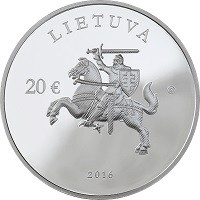 obverse of 20 Euro - 25th Anniversary of the Consolidation of Independence (2016) coin with KM# 223 from Lithuania. Inscription: LIETUVA 20€ 2016