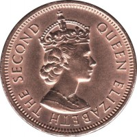 obverse of 2 Cents - Elizabeth II - 1'st Portrait (1953 - 1978) coin with KM# 32 from Mauritius. Inscription: QUEEN ELIZABETH THE SECOND