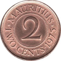 reverse of 2 Cents - Elizabeth II - 1'st Portrait (1953 - 1978) coin with KM# 32 from Mauritius. Inscription: MAURITIUS 2 TWO · CENTS · 1975