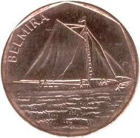 reverse of 5 Escudos - Ships: Belmira (1994) coin with KM# 36 from Cape Verde. Inscription: BELMIRA