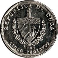 obverse of 5 Centavos (1994 - 2013) coin with KM# 575 from Cuba. Inscription: REPUBLICA DE CUBA 1999 cinco centavos