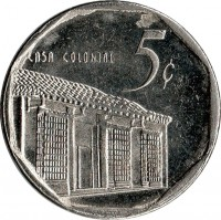 reverse of 5 Centavos (1994 - 2013) coin with KM# 575 from Cuba. Inscription: CASA COLONIAL 5¢