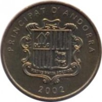 obverse of 2 Cèntims - Joan Martí i Alanis - Narcissus poeticus (2002) coin with KM# 179 from Andorra. Inscription: PRINCIPAT D' ANDORRA 2002