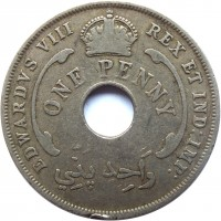 obverse of 1 Penny - Edward VIII (1936) coin with KM# 16 from British West Africa. Inscription: EDWARDVS VIII REX ET IND:IMP: ONE PENNY وَاحِد پَنّي