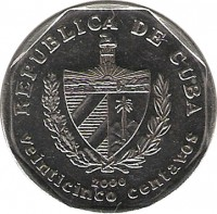obverse of 25 Centavos (1994 - 2008) coin with KM# 577 from Cuba. Inscription: REPUBLICA DE CUBA 1994 veinticinco centavos