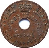 obverse of 1 Penny - Elizabeth II (1956 - 1958) coin with KM# 33 from British West Africa. Inscription: QUEEN ELIZABETH THE SECOND ONE PENNY وَاحِد پَنّي