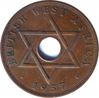 reverse of 1 Penny - Elizabeth II (1956 - 1958) coin with KM# 33 from British West Africa. Inscription: BRITISH WEST AFRICA 1957