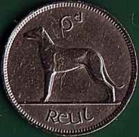 reverse of 6 Pence (1939 - 1940) coin with KM# 13 from Ireland. Inscription: 6d Reul