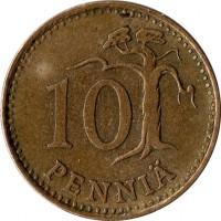 reverse of 10 Penniä (1963 - 1982) coin with KM# 46 from Finland. Inscription: 10 PENNIÄ