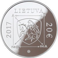 obverse of 20 Euro - 100th Anniversary of Algirdas Julien Greimas (2017) coin with KM# 233 from Lithuania. Inscription: LIETUVA 2017 20 €