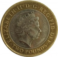 obverse of 2 Pounds - Elizabeth II - 100th Anniversary of the First World War (2014) coin with KM# 1279 from United Kingdom. Inscription: ELIZABETH · II · D · G · REG · FID · DEF TWO POUNDS