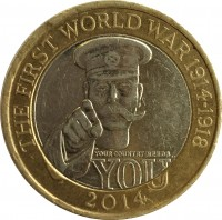 reverse of 2 Pounds - Elizabeth II - 100th Anniversary of the First World War (2014) coin with KM# 1279 from United Kingdom. Inscription: THE FIRST WORLD WAR 1914-1918
