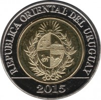 obverse of 10 Pesos Uruguayos - Bicentennial of the Land Regulations of 1815 (2015) coin with KM# 141 from Uruguay. Inscription: REPUBLICA ORIENTAL DEL URUGUAY 2015