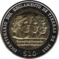 reverse of 10 Pesos Uruguayos - Bicentennial of the Land Regulations of 1815 (2015) coin with KM# 141 from Uruguay. Inscription: BICENTENARIO DEL REGLAMENTO DE TIERRAS DE 1815