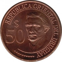 obverse of 50 Pesos Uruguayos - Bicentennial of Uruguayan Independence (2011) coin with KM# 139 from Uruguay. Inscription: REPUBLICA ORIENTAL DEL URUGUAY $ 50
