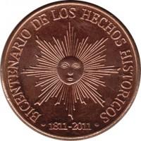 reverse of 50 Pesos Uruguayos - Bicentennial of Uruguayan Independence (2011) coin with KM# 139 from Uruguay. Inscription: BICENTENARIO DE LOS HECHOS HISTORICOS • 1811-2011 •