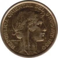 obverse of 10 Centésimos - 100th Anniversary from Constitution Pledge (1930) coin with KM# 25 from Uruguay. Inscription: REPÚBLICA ORIENTAL DEL URUGUAY · 1930 MORLON