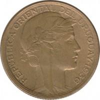 obverse of 10 Centésimos (1936) coin with KM# 28 from Uruguay. Inscription: REPUBLICA ORIENTAL DEL URUGUAY 1936 A MORLON