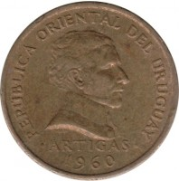 obverse of 2 Centésimos (1960) coin with KM# 37 from Uruguay. Inscription: REPÚBLICA ORIENTAL DEL URUGUAY ·ARTIGAS· 1960