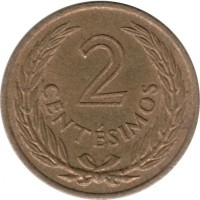 reverse of 2 Centésimos (1960) coin with KM# 37 from Uruguay. Inscription: 2 CENTÉSIMOS