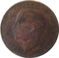obverse of 10 Centesimi - Vittorio Emanuele III (1919 - 1937) coin with KM# 60 from Italy. Inscription: VITTORIO EMANVELE III RE D'ITALIA A. MOTTI