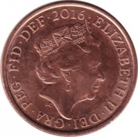 obverse of 1 Penny - Elizabeth II - 5'th Portrait (2015 - 2017) coin with KM# 1339 from United Kingdom. Inscription: ELIZABETH II · DEI · GRA · REG · FID · DEF · 2015 · J.C