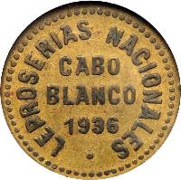 obverse of 0.05 Bolívar - Cabo Blanco Leprosarium Coinage (1936) coin with KM# L13 from Venezuela. Inscription: LEPROSERIAS NACIONALES CABO BLANCO 1936