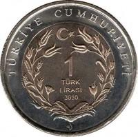 reverse of 1 Lira - Fauna: Turkish Angora Cat (2010) coin with KM# 1279 from Turkey. Inscription: TÜRKİYE CUMHURİYETİ 1 TÜRK LİRASI 2010
