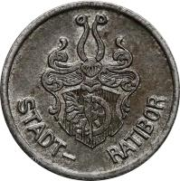 obverse of 5 Pfennig - Ratibor (Stadt, Silesia) (1918) coin with F# 438.1 from Germany. Inscription: STADT- RATIBOR